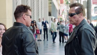 Arnie confronts a man dressed as the Terminator saying: