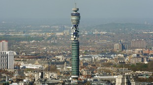 The BT Tower, seen from the roof of Tower 42