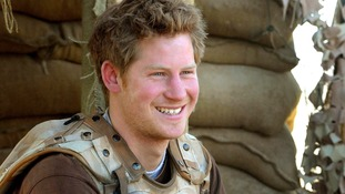 Prince Harry at an observation post in Helmand province, southern Afghanistan.