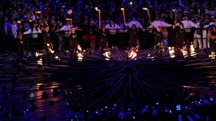 The Olympic flame lit during the Opening Ceremony