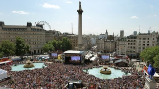 Crowds gather at the annual West End Live in Trafalgar Square in 2014.