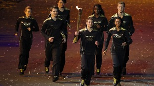 The seven teenage up-and-coming athletes who made up the final torchbearers had 45 seconds to light the cauldron
