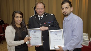 atinder Singh Wahla and his wife Navdeep Chahal receive their award