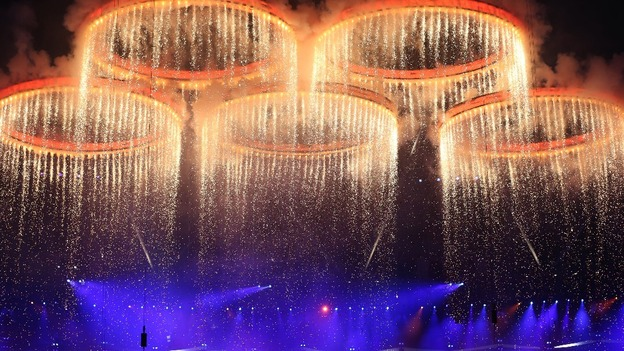 The Olympic Rings during the Opening Ceremony