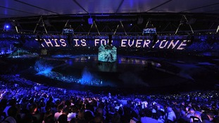 Lights around the stadium read 'This is for Everyone' in relation to Sir Tim Berners-Lee invention, the world wide web