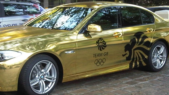 The Olympic gold medal winners' car