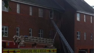 Fire crews at the scene of the blaze on Sunday