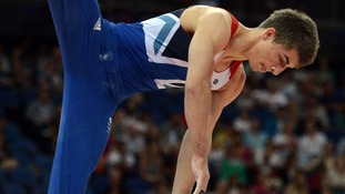 Great Britain's Max Whitlock competes on the pommel horse qualifying for the team artistic gymnastics  final