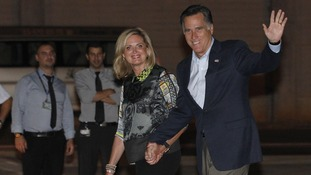 U.S. Republican Presidential candidate Mitt Romney and his wife Ann arrive in Tel Aviv