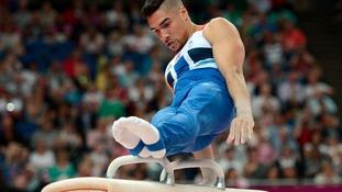 Great Britain's Louis Smith competes on the Pommel Horse during the Artistic Gymnastics team qualification