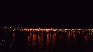 Weymouth beach lit up