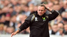 Norwich City manager Paul Lambert during the Barclays Premier League match at the Sports Direct Arena, Newcastle  