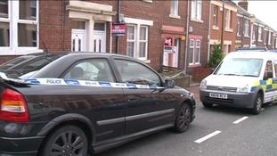 Police at the scene in Gateshead