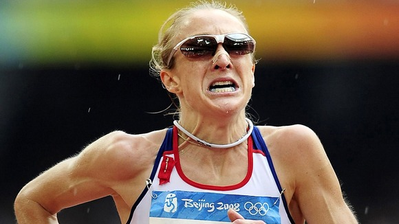 Paula Radcliffe finishing the Women's Marathon at the 2008 Beijing Olympics