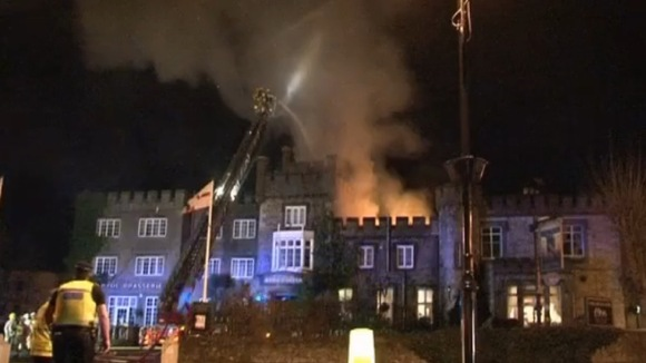 The Ryde Castle Hotel, firefighters on crane