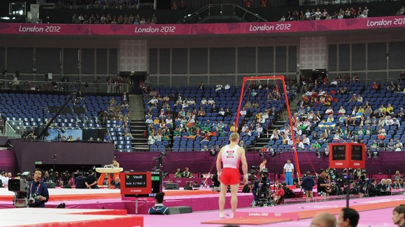 Empty seats are seen during the Artistic Gymnastics team qualification at the North Greenwich Arena
