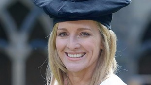 Gabby Logan after receiving an honorary degree at Durham.