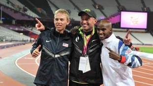 Alberto Salazar with his athletes Galen Rupp and Mo Farah