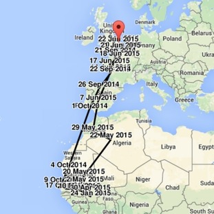 The route taken by Titan the turtle dove from Suffolk to Africa and back again.