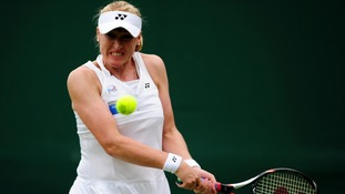 Elena Baltacha in action during day two of the 2012 Wimbledon Championships at the All England Lawn Tennis Club, Wimbledon.