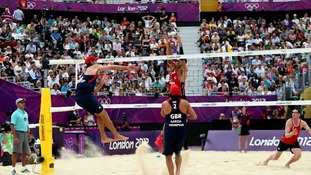 Steve Grotowski in action during the Men's Beach Volleyball at Horse Guards Parade, London.