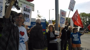 A mass protest has been held at the Royal Cornwall Hospital over the privatisation of services