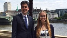 Ed Miliband at a lunch meeting with Abby Tomlinson, the founder of #milifandom