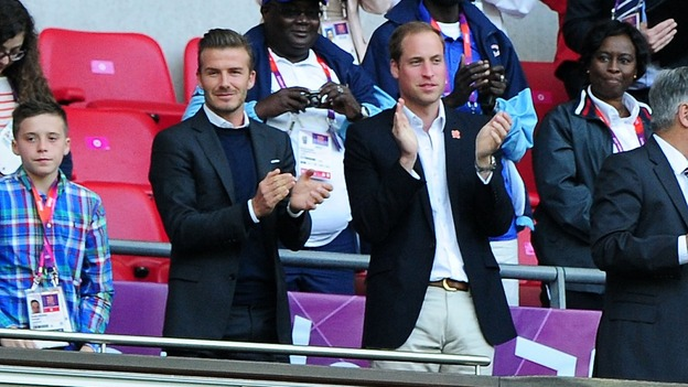 The Duke of Cambridge and David Beckham applaud Ryan Giggs' goal at Wembley Stadium