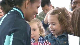 Michelle Obama at RAF Mildenhall in Suffolk