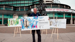 Rugby World Cup 2003 winner Martin Johnson with the ticket designs.