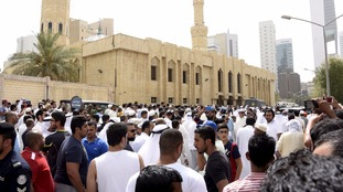 Crowds surround the Imam Sadiq Mosque