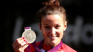 Great Britain's Lizzie Armitstead with her silver medal following the women's road race at The Mall in London.