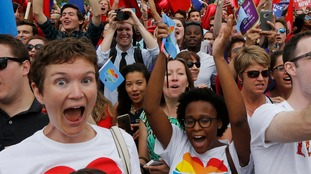 Gay rights supporters celebrate after the Supreme Court ruling.