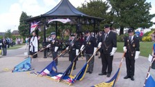 Regiments from the different armed forces pay their respects in Hinckley.