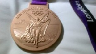 Beijing gold medallist Rebecca Adlington tweeted this photo of her London bronze medal.