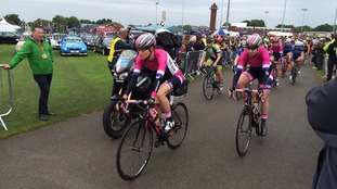 The cyclists get underway