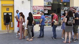 Queues build at Greek ATMs