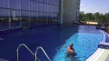 Graeme Scott in one of the hotel pools