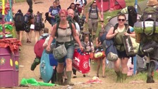 Campers pack up their tents and head home from Glastonbury
