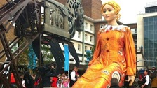 10m tall Lady Godiva being pulled through Coventry on Sunday