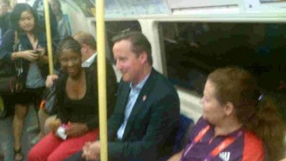 The Prime Minister takes public transport to the Olympic Park.