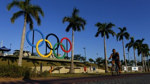 The Olympic rings at the Madureira Park in Rio