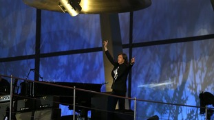 Sir Paul McCartney performs during the opening ceremony of the London 2012 Olympic Games at the Olympic Stadium.