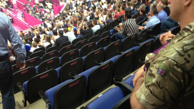 Before: Empty seats at the men's gymnastics final