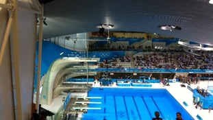 Empty seats at diving event.
