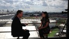 David Cameron talks to Nina Hossain at the London Tonight studio overlooking the Olympic Park.