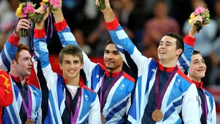 Daniel Purvis, Max Whitlock, Louis Smith, Kristian Thomas and Sam Oldham celebrate their Bronze medals