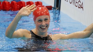 Hannah Miley smiles after winning her women's 400m individual medley