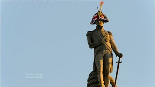 Nelson's Column with Union Jack hat.