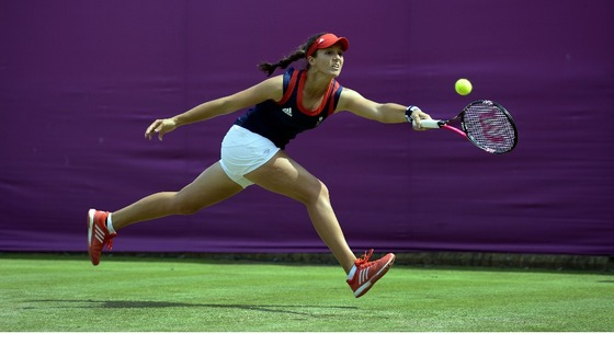 Great Britain&#x27;s Laura Robson in action, during the First Round of the Olympic Women&#x27;s Singles in Wimbledon.